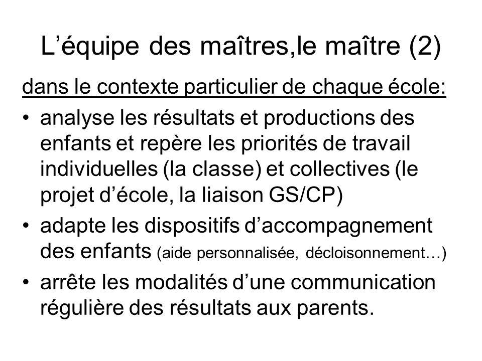 Léquipe des maîtres,le maître (2) dans le contexte particulier de chaque école: analyse les résultats et productions des enfants et repère les priorit