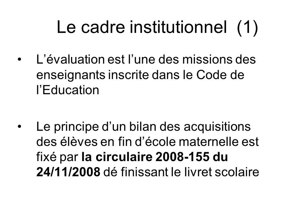 Le cadre institutionnel (1) Lévaluation est lune des missions des enseignants inscrite dans le Code de lEducation Le principe dun bilan des acquisitio
