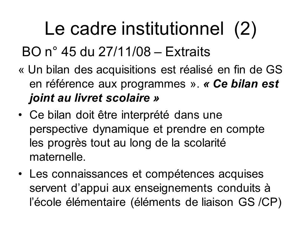 Le cadre institutionnel (2) BO n° 45 du 27/11/08 – Extraits « Un bilan des acquisitions est réalisé en fin de GS en référence aux programmes ». « Ce b