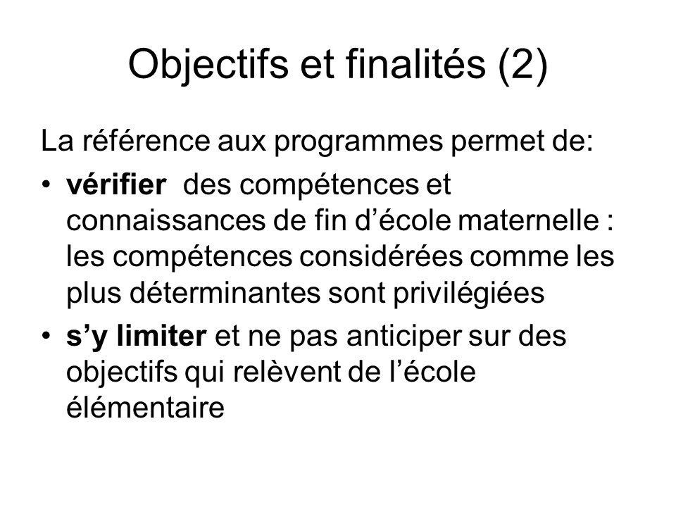 Objectifs et finalités (2) La référence aux programmes permet de: vérifier des compétences et connaissances de fin décole maternelle : les compétences