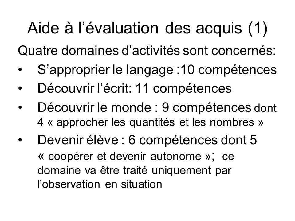 Aide à lévaluation des acquis (1) Quatre domaines dactivités sont concernés: Sapproprier le langage :10 compétences Découvrir lécrit: 11 compétences D