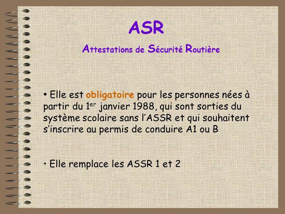 Elle est obligatoire pour les personnes nées à partir du 1 er janvier 1988, qui sont sorties du système scolaire sans lASSR et qui souhaitent sinscrire au permis de conduire A1 ou B Elle remplace les ASSR 1 et 2 ASR A ttestations de S écurité R outière