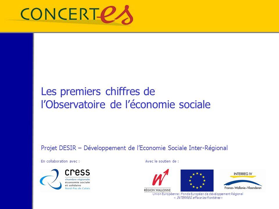 Les premiers chiffres de lObservatoire de léconomie sociale Projet DESIR – Développement de lEconomie Sociale Inter-Régional En collaboration avec : Avec le soutien de : Union Européenne : Fonds Européen de développement Régional « INTERREG efface les frontières »