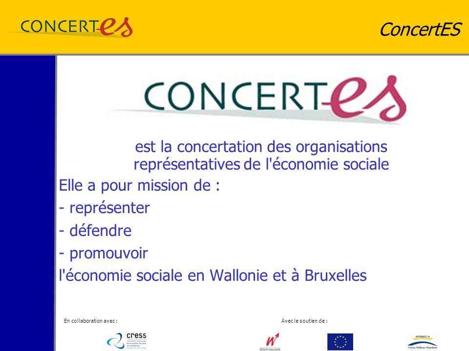 En collaboration avec : Avec le soutien de : ConcertES Elle a pour mission de : - représenter - défendre - promouvoir l économie sociale en Wallonie et à Bruxelles est la concertation des organisations représentatives de l économie sociale