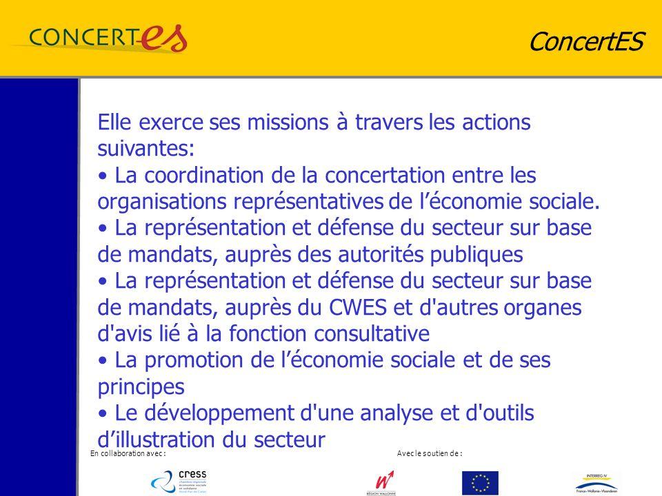 En collaboration avec : Avec le soutien de : ConcertES Elle exerce ses missions à travers les actions suivantes: La coordination de la concertation entre les organisations représentatives de léconomie sociale.