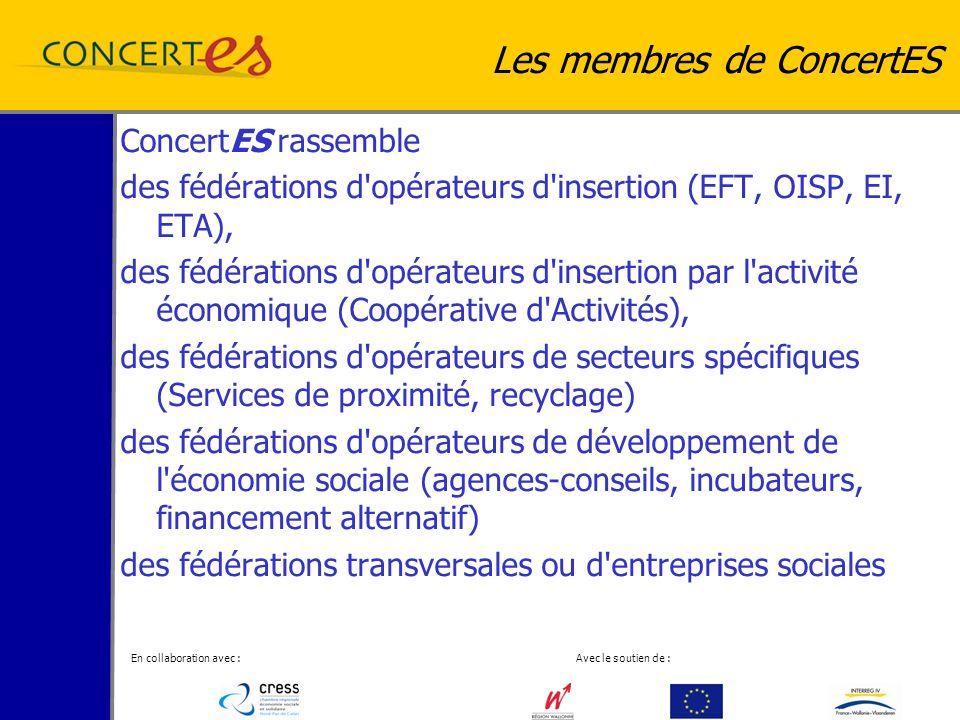 En collaboration avec : Avec le soutien de : Les membres de ConcertES ConcertES rassemble des fédérations d opérateurs d insertion (EFT, OISP, EI, ETA), des fédérations d opérateurs d insertion par l activité économique (Coopérative d Activités), des fédérations d opérateurs de secteurs spécifiques (Services de proximité, recyclage) des fédérations d opérateurs de développement de l économie sociale (agences-conseils, incubateurs, financement alternatif) des fédérations transversales ou d entreprises sociales