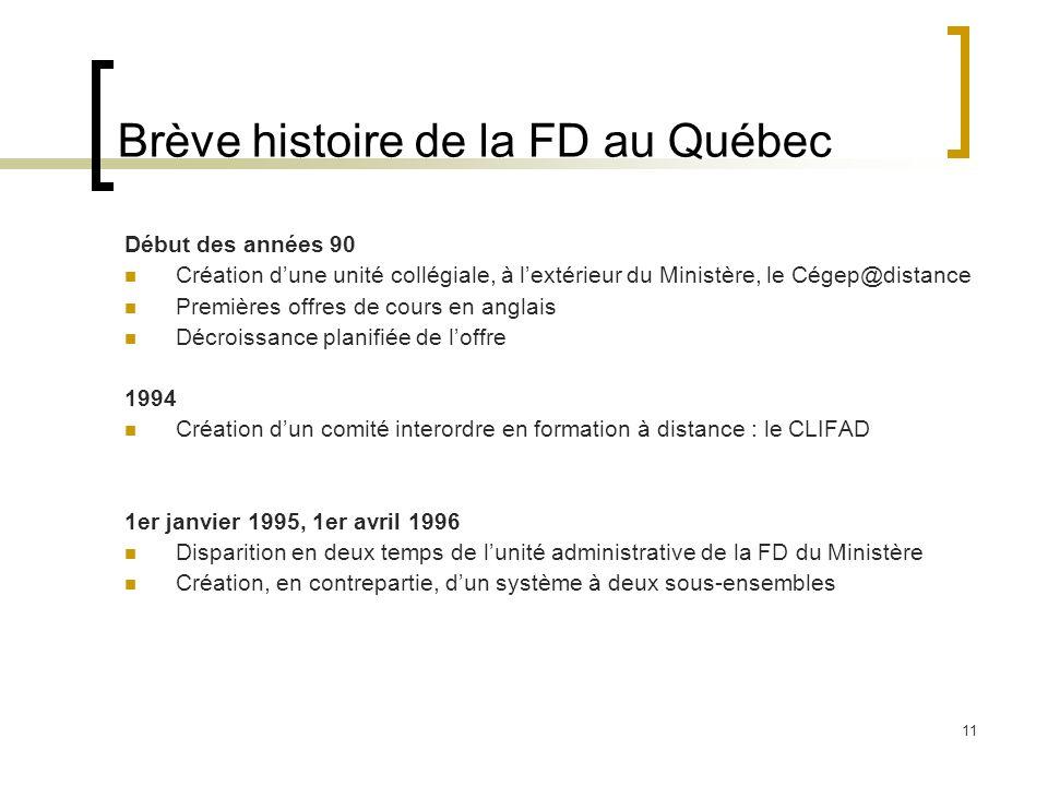 11 Brève histoire de la FD au Québec Début des années 90 Création dune unité collégiale, à lextérieur du Ministère, le Cégep@distance Premières offres
