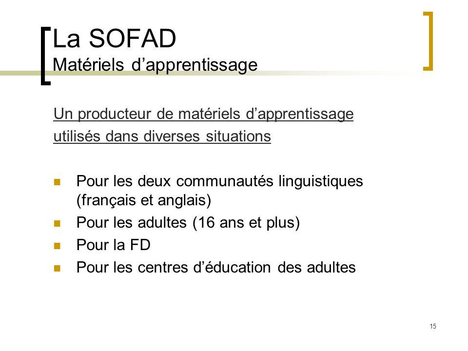 15 La SOFAD Matériels dapprentissage Un producteur de matériels dapprentissage utilisés dans diverses situations Pour les deux communautés linguistiques (français et anglais) Pour les adultes (16 ans et plus) Pour la FD Pour les centres déducation des adultes