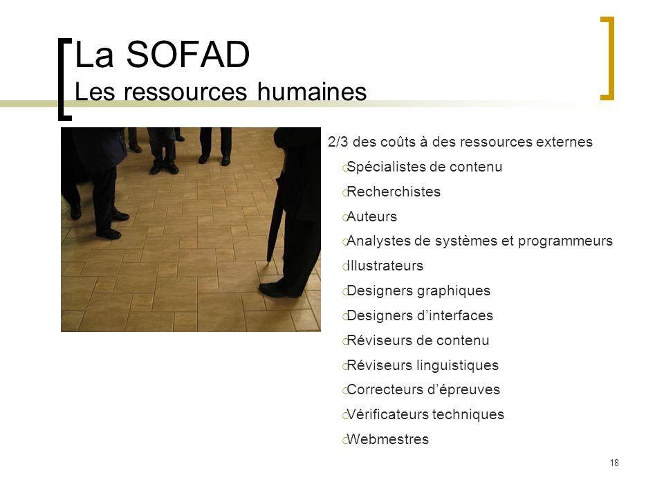 18 La SOFAD Les ressources humaines 2/3 des coûts à des ressources externes Spécialistes de contenu Recherchistes Auteurs Analystes de systèmes et pro