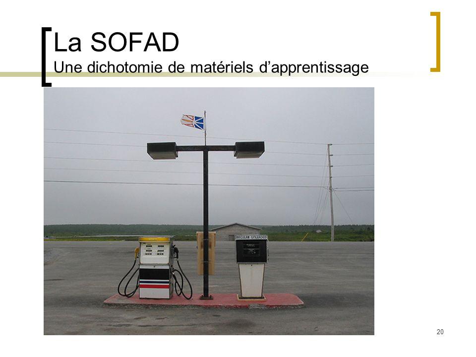 20 La SOFAD Une dichotomie de matériels dapprentissage