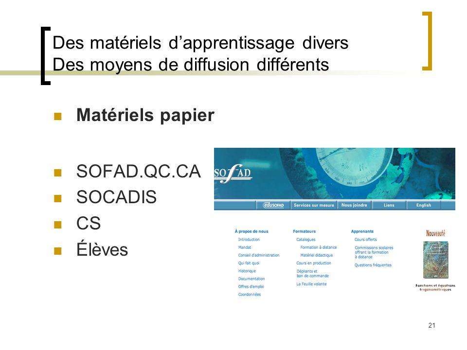 21 Des matériels dapprentissage divers Des moyens de diffusion différents Matériels papier SOFAD.QC.CA SOCADIS CS Élèves