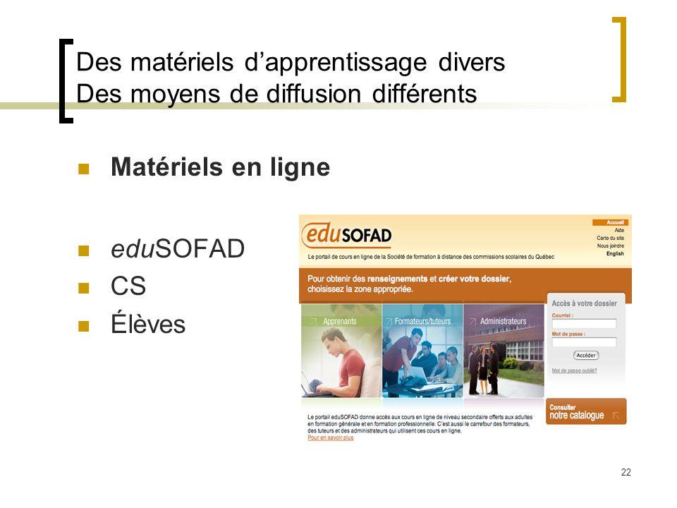 22 Des matériels dapprentissage divers Des moyens de diffusion différents Matériels en ligne eduSOFAD CS Élèves
