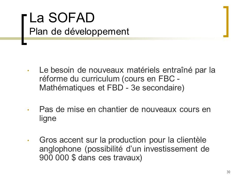 30 La SOFAD Plan de développement Le besoin de nouveaux matériels entraîné par la réforme du curriculum (cours en FBC - Mathématiques et FBD - 3e secondaire) Pas de mise en chantier de nouveaux cours en ligne Gros accent sur la production pour la clientèle anglophone (possibilité dun investissement de 900 000 $ dans ces travaux)