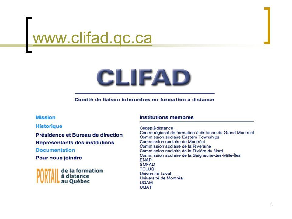7 www.clifad.qc.ca Saisie de la page daccueil du Portail