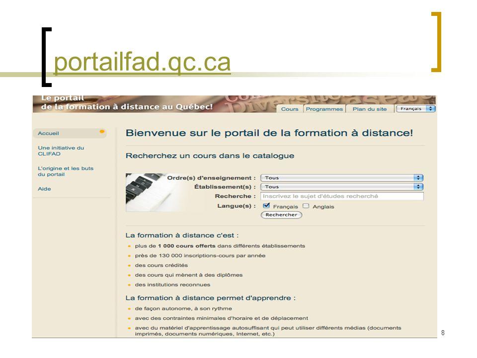 8 portailfad.qc.ca Saisie de la page daccueil du Portail