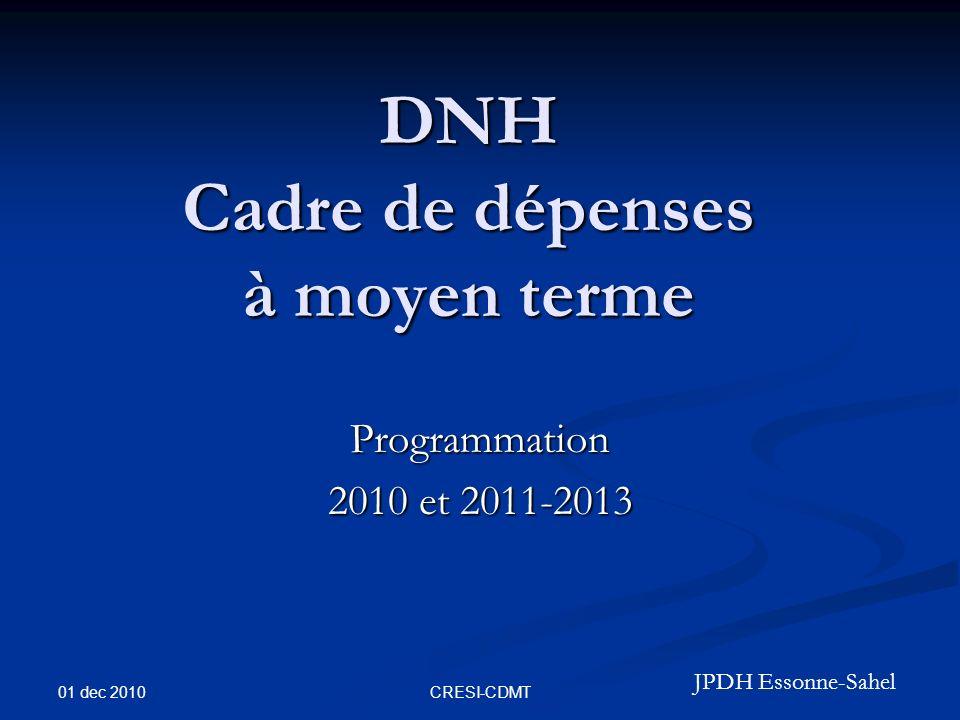 01 dec 2010 CRESI-CDMT DNH Cadre de dépenses à moyen terme Programmation 2010 et 2011-2013 JPDH Essonne-Sahel