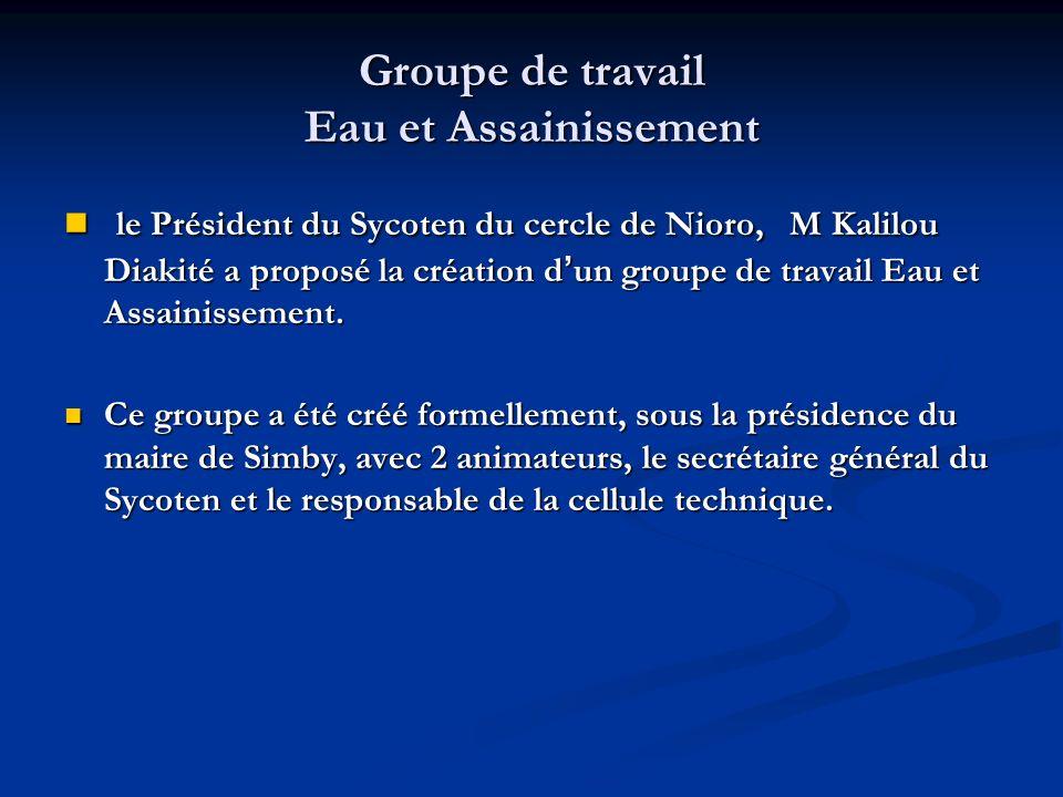 Groupe de travail Eau et Assainissement le Président du Sycoten du cercle de Nioro, M Kalilou Diakité a proposé la création d un groupe de travail Eau et Assainissement.