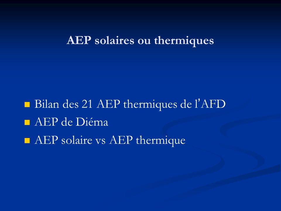 AEP solaires ou thermiques Bilan des 21 AEP thermiques de lAFD AEP de Diéma AEP solaire vs AEP thermique