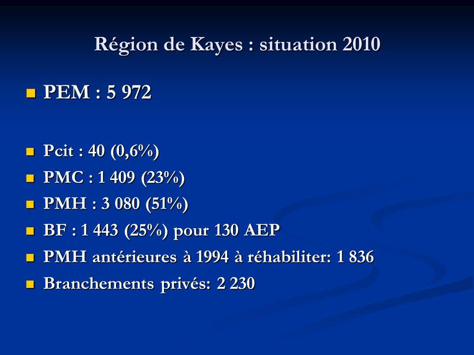 Région de Kayes : situation 2010 PEM : 5 972 PEM : 5 972 Pcit : 40 (0,6%) Pcit : 40 (0,6%) PMC : 1 409 (23%) PMC : 1 409 (23%) PMH : 3 080 (51%) PMH : 3 080 (51%) BF : 1 443 (25%) pour 130 AEP BF : 1 443 (25%) pour 130 AEP PMH antérieures à 1994 à réhabiliter: 1 836 PMH antérieures à 1994 à réhabiliter: 1 836 Branchements privés: 2 230 Branchements privés: 2 230