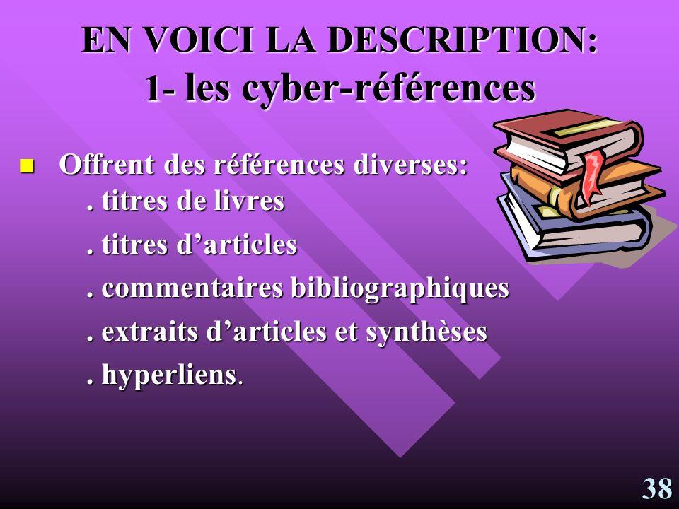 La cyberbanque Trois banques offrent un large éventail de références diverses: textes, revues, livres, sites internet et objets pédagogiques, documents provenant des collèges.