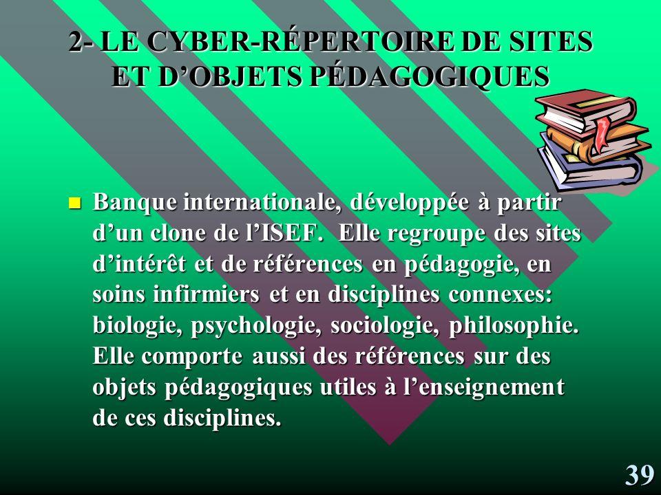 EN VOICI LA DESCRIPTION: 1- les cyber-références Offrent des références diverses:.