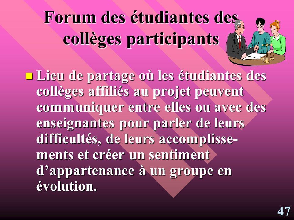 Forum du portfolio Lieu déchange commun pour les enseignantes qui désirent participer à une communauté dapprentissage.