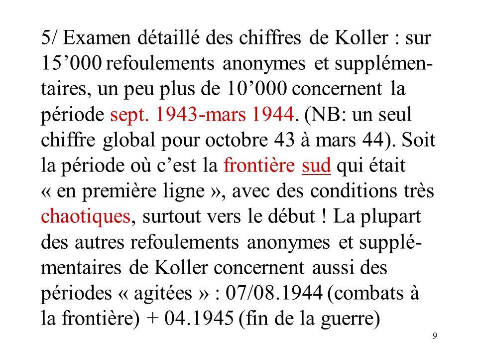 9 5/ Examen détaillé des chiffres de Koller : sur 15000 refoulements anonymes et supplémen- taires, un peu plus de 10000 concernent la période sept.