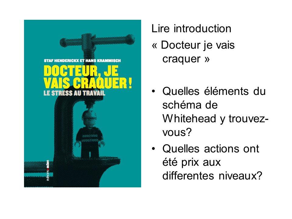 Lire introduction « Docteur je vais craquer » Quelles éléments du schéma de Whitehead y trouvez- vous.