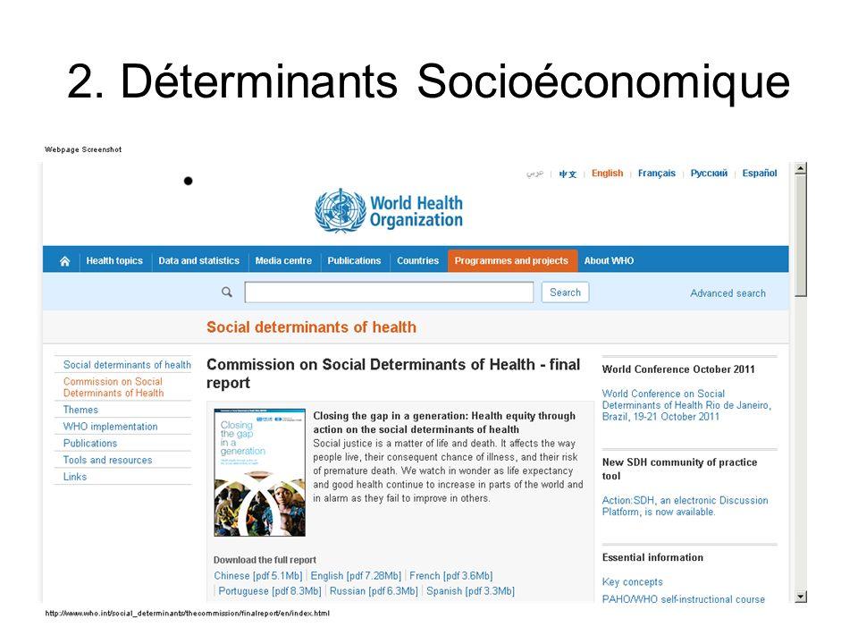 Les déterminants sociaux de la santé sont les circonstances dans lesquelles les individus naissent, grandissent, vivent, travaillent et vieillissent ainsi que les systèmes mis en place pour faire face à la maladie.