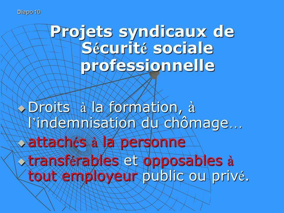 Diapo 10 Projets syndicaux de S é curit é sociale professionnelle Droits à la formation, à l indemnisation du chômage … Droits à la formation, à l ind