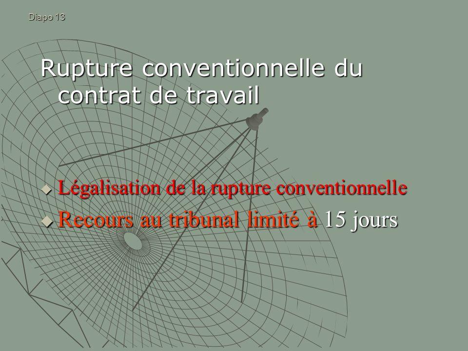 Diapo 13 Rupture conventionnelle du contrat de travail Légalisation de la rupture conventionnelle Légalisation de la rupture conventionnelle Recours a