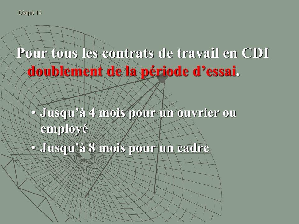 Diapo 14 Pour tous les contrats de travail en CDI doublement de la période dessai. Jusquà 4 mois pour un ouvrier ou employéJusquà 4 mois pour un ouvri