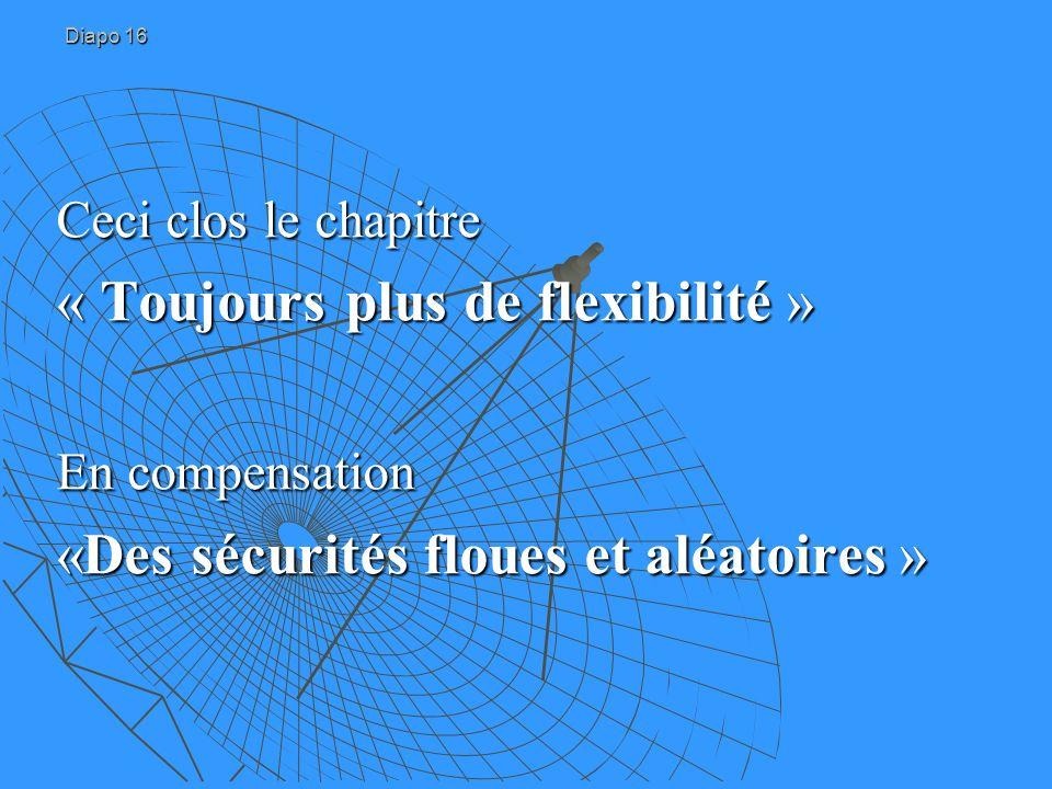 Diapo 16 Ceci clos le chapitre « Toujours plus de flexibilité » En compensation «Des sécurités floues et aléatoires »