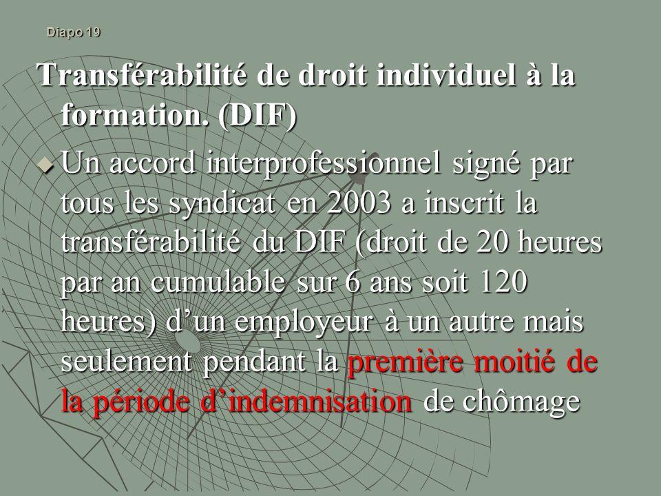 Diapo 19 Transférabilité de droit individuel à la formation. (DIF) Un accord interprofessionnel signé par tous les syndicat en 2003 a inscrit la trans