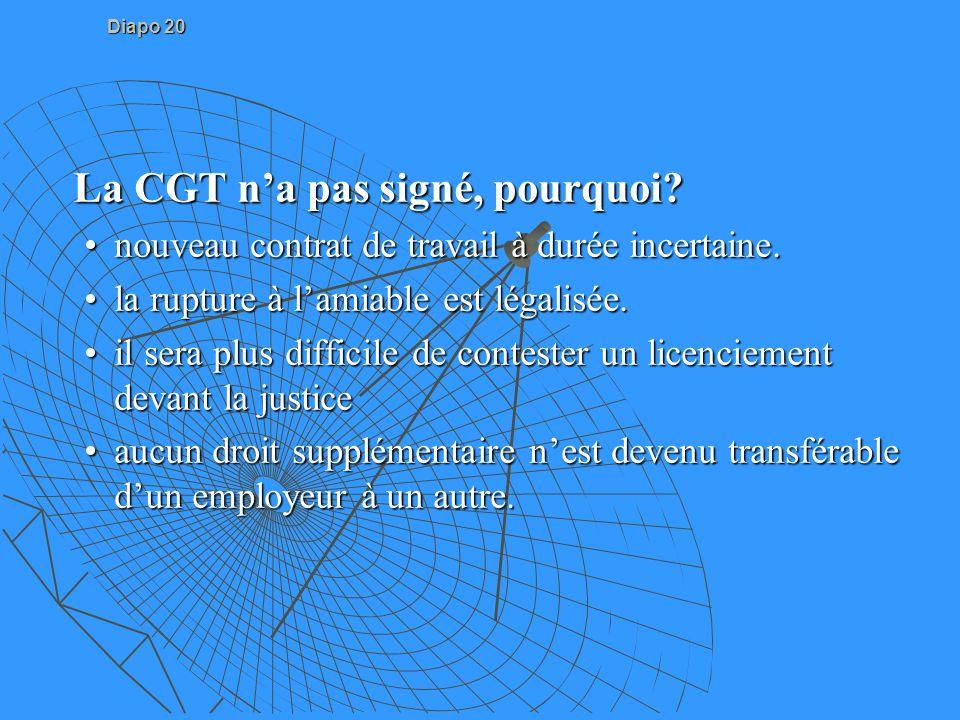 Diapo 20 La CGT na pas signé, pourquoi? La CGT na pas signé, pourquoi? nouveau contrat de travail à durée incertaine.nouveau contrat de travail à duré