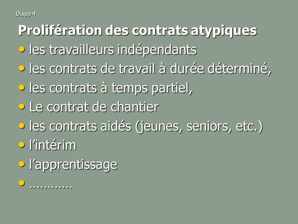 Diapo 4 Prolifération des contrats atypiques les travailleurs indépendants les travailleurs indépendants les contrats de travail à durée déterminé, les contrats de travail à durée déterminé, les contrats à temps partiel, les contrats à temps partiel, Le contrat de chantier Le contrat de chantier les contrats aidés (jeunes, seniors, etc.) les contrats aidés (jeunes, seniors, etc.) lintérim lintérim lapprentissage lapprentissage ………… …………