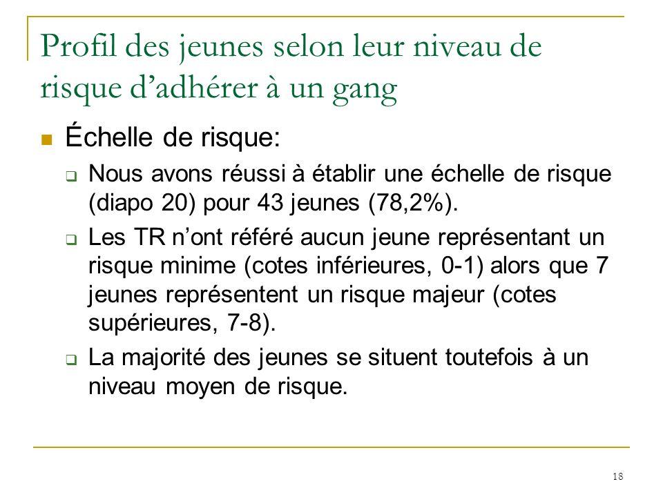 18 Profil des jeunes selon leur niveau de risque dadhérer à un gang Échelle de risque: Nous avons réussi à établir une échelle de risque (diapo 20) pour 43 jeunes (78,2%).