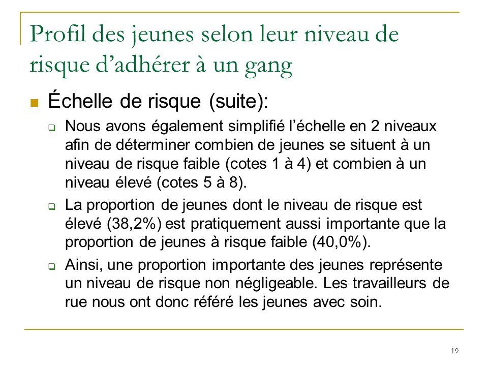 19 Profil des jeunes selon leur niveau de risque dadhérer à un gang Échelle de risque (suite): Nous avons également simplifié léchelle en 2 niveaux afin de déterminer combien de jeunes se situent à un niveau de risque faible (cotes 1 à 4) et combien à un niveau élevé (cotes 5 à 8).