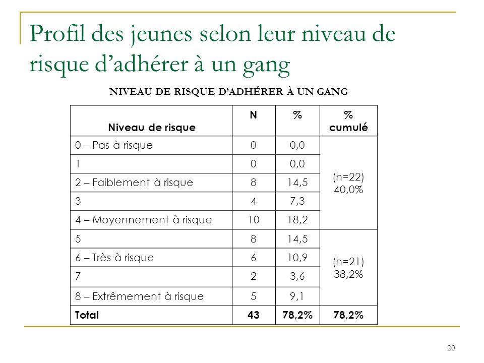 20 Profil des jeunes selon leur niveau de risque dadhérer à un gang NIVEAU DE RISQUE DADHÉRER À UN GANG Niveau de risque N% cumulé 0 – Pas à risque00,0 (n=22) 40,0% 100,0 2 – Faiblement à risque814,5 347,3 4 – Moyennement à risque1018,2 5814,5 (n=21) 38,2% 6 – Très à risque610,9 723,6 8 – Extrêmement à risque59,1 Total4378,2%