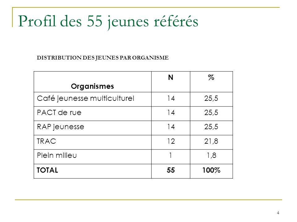 4 Profil des 55 jeunes référés DISTRIBUTION DES JEUNES PAR ORGANISME Organismes N% Café jeunesse multiculturel1425,5 PACT de rue1425,5 RAP jeunesse1425,5 TRAC1221,8 Plein milieu11,8 TOTAL55100%