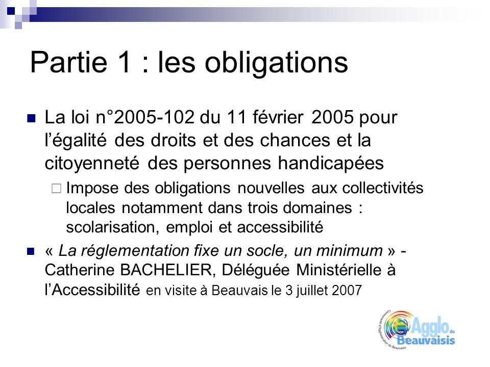 Partie 1 : les obligations La loi n°2005-102 du 11 février 2005 pour légalité des droits et des chances et la citoyenneté des personnes handicapées Impose des obligations nouvelles aux collectivités locales notamment dans trois domaines : scolarisation, emploi et accessibilité « La réglementation fixe un socle, un minimum » - Catherine BACHELIER, Déléguée Ministérielle à lAccessibilité en visite à Beauvais le 3 juillet 2007
