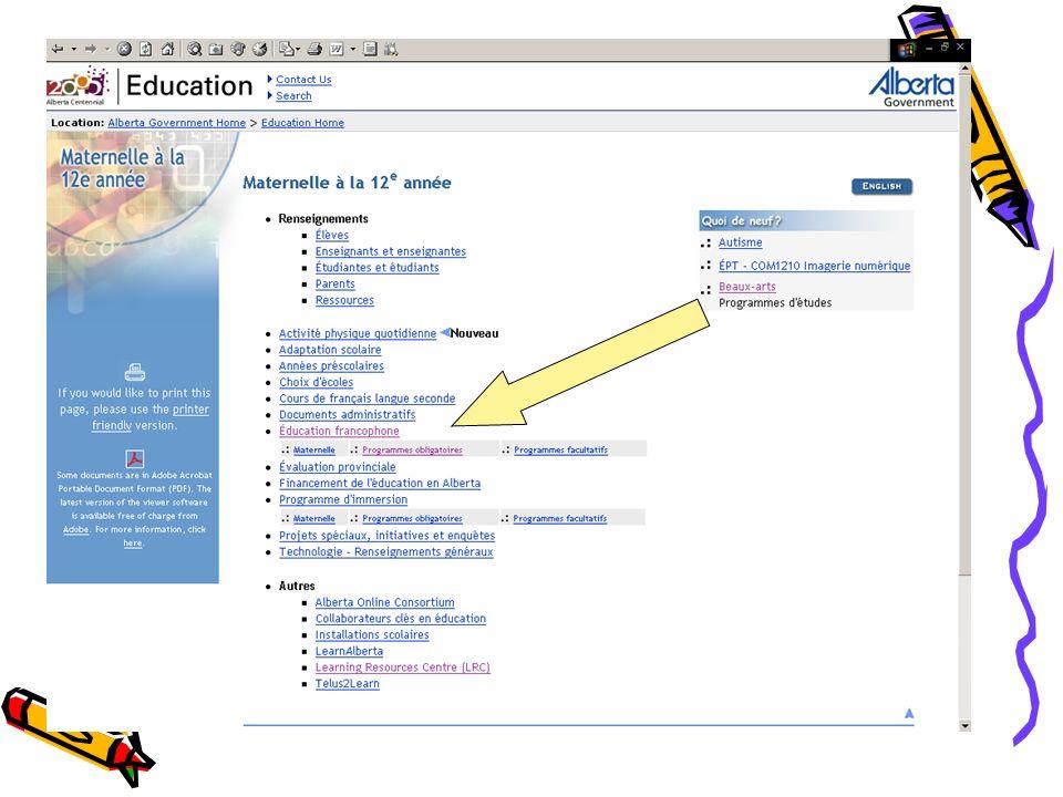Pour les besoins de lexercice choisissons « Éducation francophone / Sciences » Aller à Éducation francophone puis à programmes obligatoires puis à sciences et finalement élémentaire