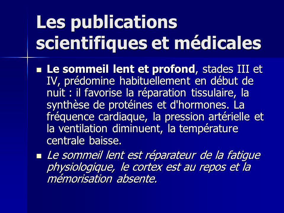 Les publications scientifiques et médicales Le sommeil lent et profond, stades III et IV, prédomine habituellement en début de nuit : il favorise la réparation tissulaire, la synthèse de protéines et d hormones.