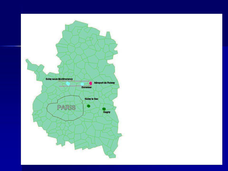 Méthodologie Exposés: 500 personnes habitant Gonesse et Soisy-sous-Montmorency Exposés: 500 personnes habitant Gonesse et Soisy-sous-Montmorency Non exposés (témoins): 500 personnes habitant Noisy-le Sec et Gagny Non exposés (témoins): 500 personnes habitant Noisy-le Sec et Gagny