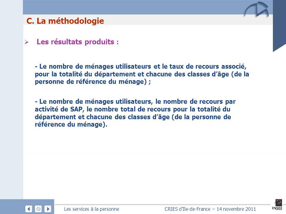 Les services à la personne CRIES dIle-de-France – 14 novembre 2011 C. La méthodologie Les résultats produits : - Le nombre de ménages utilisateurs et