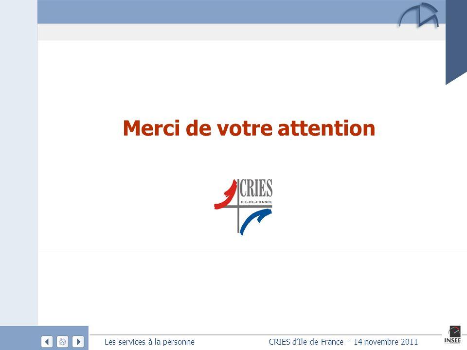 Les services à la personne CRIES dIle-de-France – 14 novembre 2011 Merci de votre attention
