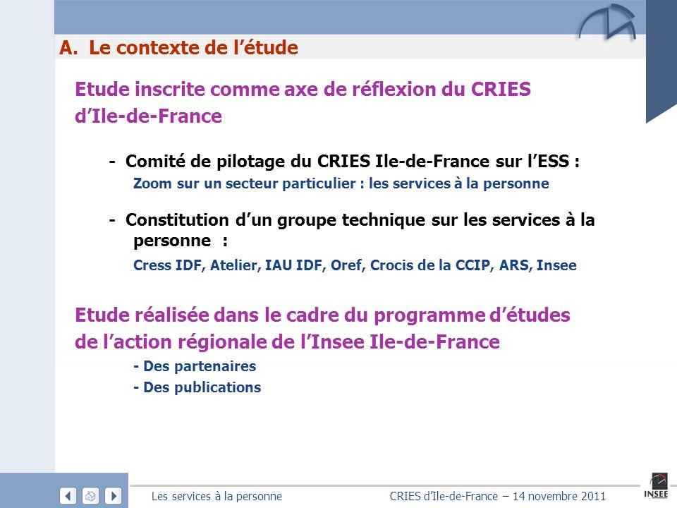 Les services à la personne CRIES dIle-de-France – 14 novembre 2011 A. Le contexte de létude Etude inscrite comme axe de réflexion du CRIES dIle-de-Fra