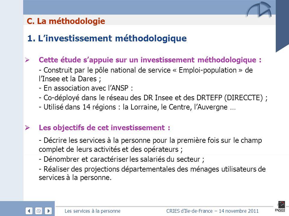 Les services à la personne CRIES dIle-de-France – 14 novembre 2011 1. Linvestissement méthodologique Cette étude sappuie sur un investissement méthodo