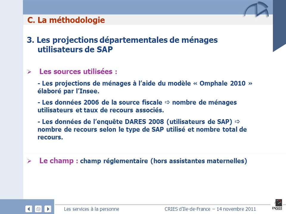 Les services à la personne CRIES dIle-de-France – 14 novembre 2011 3. Les projections départementales de ménages utilisateurs de SAP Les sources utili