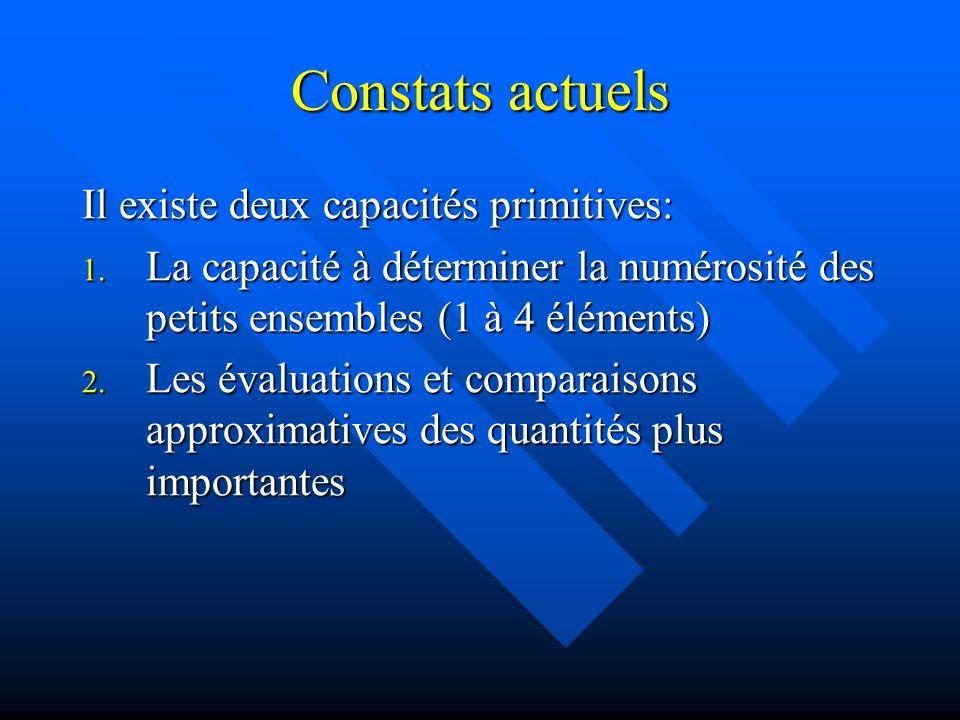 Constats actuels Il existe deux capacités primitives: 1. La capacité à déterminer la numérosité des petits ensembles (1 à 4 éléments) 2. Les évaluatio